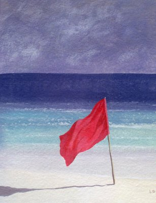 Beach Flag - Storm Warning, 1985 (acrylic on paper) Fine Art Print by Lincoln Seligman