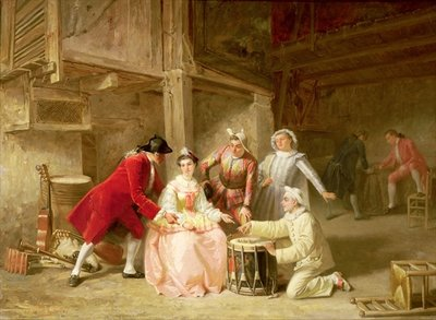Group of musician actors gambling Fine Art Print by Adolphe Francois Monfallet
