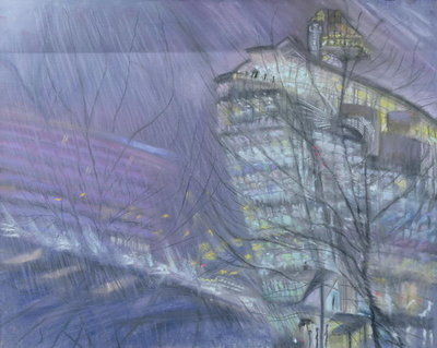 The Ark, Novotel Hotel, Hammersmith Flyover, 1999 (pastel on paper) Wall Art & Canvas Prints by Sophia Elliot