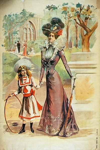 Mother and daughter on a walk Fine Art Print by French School