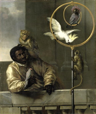 Negro with Parrots and Monkeys, 1670 Fine Art Print by David Klocker Ehrenstrahl
