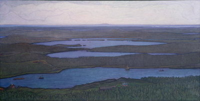 Over Forest and Lake, 1908 Fine Art Print by Otto Hesselbom