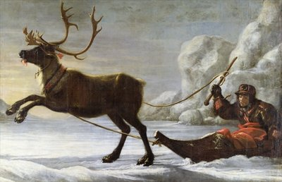Abraham Renstirna Dressed as a Lapp and his Reindeer Fine Art Print by David Klocker Ehrenstrahl