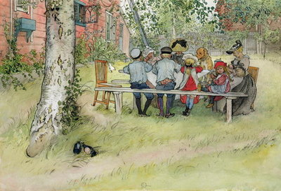 Breakfast under the Big Birch, from 'A Home' series, c.1895 Fine Art Print by Carl Larsson