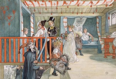 A Day of Celebration, from 'A Home' series, c.1895 Postcards, Greetings Cards, Art Prints, Canvas, Framed Pictures, T-shirts & Wall Art by Carl Larsson