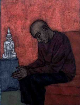 Contemplation (Binoy) 1998 (w/c on paper) Fine Art Print by Shanti Panchal