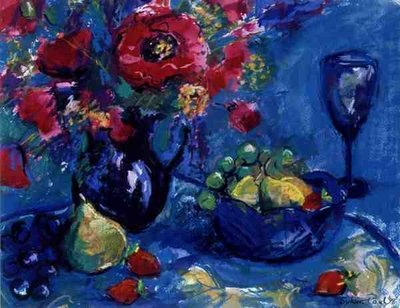 Still Life with Blue Glass, 1999 Postcards, Greetings Cards, Art Prints, Canvas, Framed Pictures & Wall Art by Sylvia Paul