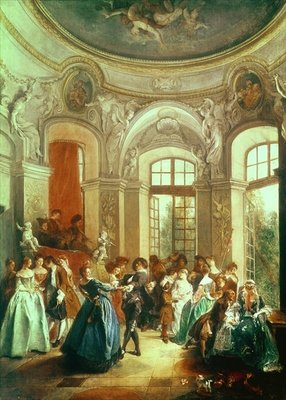 A Dance in the Summer House Fine Art Print by Nicolas Lancret