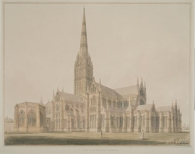South East View of the Salisbury Cathedral and Chapter House, 1803 Postcards, Greetings Cards, Art Prints, Canvas, Framed Pictures, T-shirts & Wall Art by John Buckler
