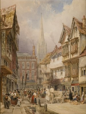Minster Street, Salisbury Wall Art & Canvas Prints by Thomas Shotter Boys