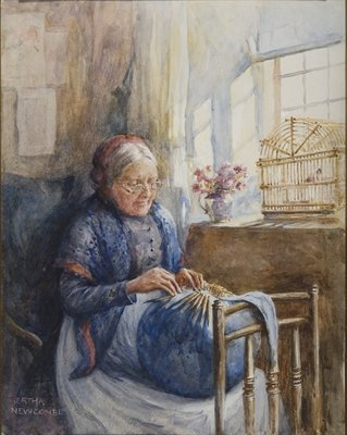 Painting of a Downton Lace Maker Fine Art Print by Bertha Newcombe