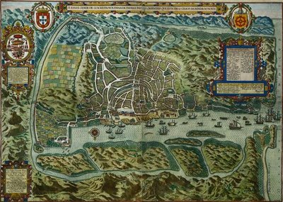 Map of the City and Portuguese Port of Goa, India, 1595 Fine Art Print by Johannes Baptista van, the Younger Doetechum