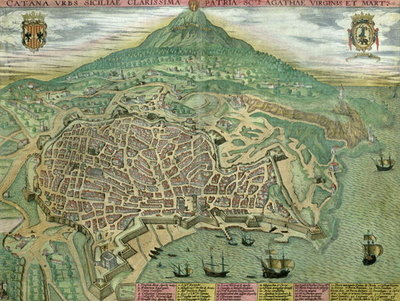 Map of Catania, from 'Civitates Orbis Terrarum' by Georg Braun Wall Art & Canvas Prints by Joris Hoefnagel