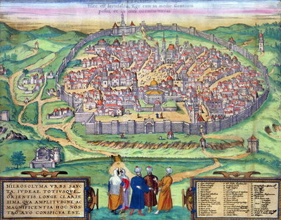 Map of Jerusalem, from 'Civitates Orbis Terrarum' by Georg Braun Fine Art Print by Joris Hoefnagel
