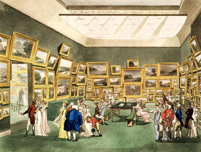 Exhibition of Watercoloured Drawings by the Society of Painters in Watercolours, from 'The Microcosm of London', engraved by J. C. Stadler Poster Art Print by T. Rowlandson