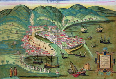 Map of Chios, from 'Civitates Orbis Terrarum' by Georg Braun Fine Art Print by Joris Hoefnagel