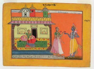 Krishna arriving at Radha's house, illustration from a manuscript of the 'Rasamanjari' of Bhanudatta, Basholi style, c.1660-70 Fine Art Print by Pahari School