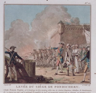 Lifting of the Siege of Pondicherry, 1748, engraved 1789 Fine Art Print by Antoine Louis Francois Sergent-Marceau