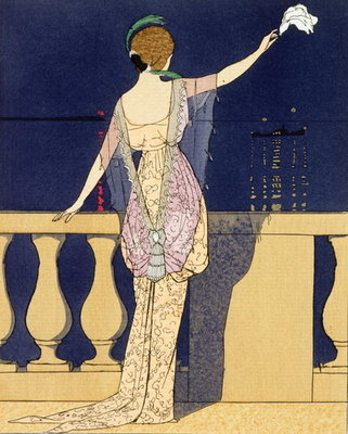 Farewell at Night, design for an evening dress by Paquin Fine Art Print by Georges Barbier