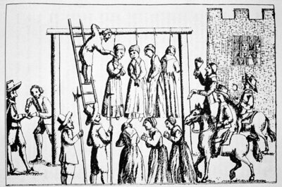 An Execution of Witches in England Fine Art Print by English School