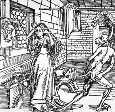 The Devil and the Coquette, copy of an illustration from 'Der Ritter von Turm', Augsburg 1498, used in a 'History of Magic', published late 19th century Fine Art Print by German School