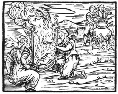 Witches roasting and boiling infants, copy of an illustration from 'Compendium Maleticarum' by Fr M Guaccius, Milan 1608, used in 'History of Magic, published late 19th century Fine Art Print by Italian School