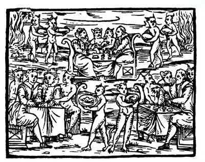 The Witches Sabbath, copy of an illustration from 'Compendium Maleticarum' by Fr M Guaccius, Milan 1608, used in 'History of Magic', published late 19th century Fine Art Print by Italian School