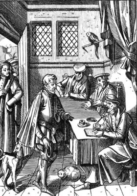Bailliage, or Tribunal of the King's Bailiff, after a wood engraving in 'Praxis Rerum Civilium' by Joos de Damhouder Fine Art Print by Dutch School