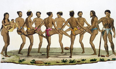 Dance of the Caroline Islanders, plate 22 from 'Le Costume Ancien et Moderne' by Jules Ferrario, published c.1820s-30s Fine Art Print by Felice Campi