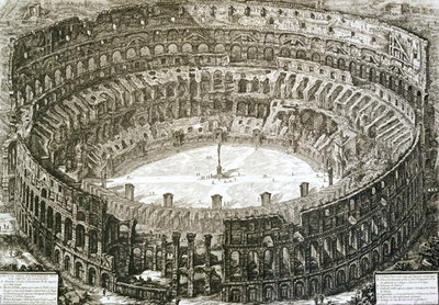 Aerial view of the Colosseum in Rome from 'Views of Rome', first published in 1756, printed Paris 1800 Fine Art Print by Giovanni Battista Piranesi