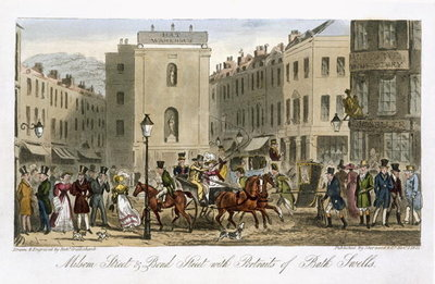 Milsom Street & Bond Street with Portraits of Bath Swells, from 'The English Spy', by Charles Molloy Westmacott (1788-1868) published London, 1825 (colour litho) Postcards, Greetings Cards, Art Prints, Canvas, Framed Pictures, T-shirts & Wall Art by Isaac Robert Cruikshank