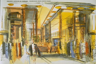 Promenade Deck aboard the Queen Mary, from 'Esquire's Avenues of Fashion' (colour litho) Wall Art & Canvas Prints by English School