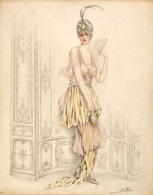 Design for womans court dress, by Jules de Ban, 1920 Fine Art Print by French School