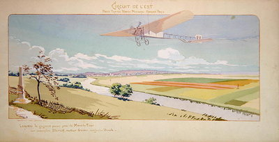 Comte Charles de Lambert in a Bleriot Monoplane flies the West Circuit, published by Mabileau, Paris, 1910 Wall Art & Canvas Prints by Marguerite Montaut