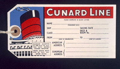 Luggage ticket for the 'Cunard Line' Wall Art & Canvas Prints by Anonymous