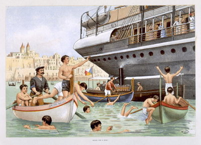 Malta, Heave for a Dive, from 'P & O Pencillings' Postcards, Greetings Cards, Art Prints, Canvas, Framed Pictures & Wall Art by W. Lloyd