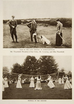 Golf in the later 90s at Berkhampstead and Netball in the 90s, photographs from The Times from the 1890s Fine Art Print by English Photographer