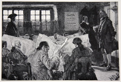 In the Reading Room of a New York Coffee House Poster Art Print by Howard Pyle