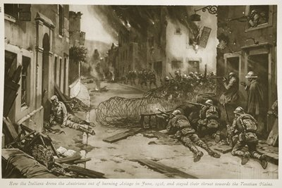 How the Italians drove the Austrians out of burning Asiago in June, 1916, and stayed their thrust towards the Venetian Plains Fine Art Print by English School