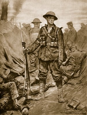 A British Soldier in a conquered enemy Trench: Quiet and steadfast and in triumph merciful Fine Art Print by English School