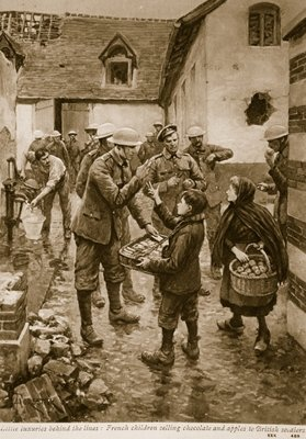 Little luxuries behind the lines: French children selling chocolate and apples to British soldiers Fine Art Print by English School