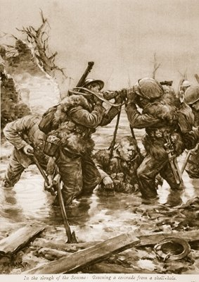In the Slough of the Somme: Rescuing a comrade from a shell-hole Fine Art Print by English School