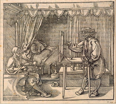 A draughtsman taking details for a portrait, using a perspective apparatus for drawing onto glass, from 'Course in the Art of Drawing' by Albrecht Durer, published Nuremberg 1525 Wall Art & Canvas Prints by Albrecht Durer or Duerer