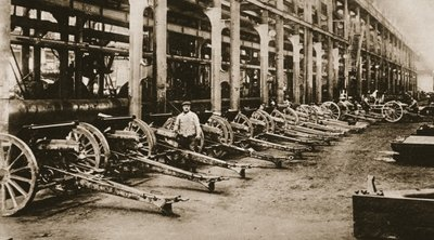 At one of the great Gun-factories of France: '75's' ready to be sent to the front, from 'The Illustrated War News', 1916 Fine Art Print by French School
