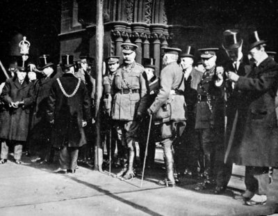 Lord Kitchener at Manchester for a Parade: The Minister for War on the Steps of the Town Hall, from 'The Illustrated War News', 1915 Fine Art Print by English Photographer