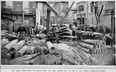 Big Shells fresh from the moulds have the sand scraped off: at one of the French munition-factories, from 'The Illustrated War News' Fine Art Print by French Photographer