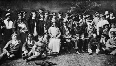 K. of K. plays the host: Lord Kitchener entertains a number of wounded soldiers at Broome Park, his seat near Canterbury, from 'The Illustrated War News' Postcards, Greetings Cards, Art Prints, Canvas, Framed Pictures, T-shirts & Wall Art by English Photographer