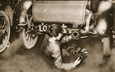 The women-workers of the present- and future: a mechanic repairing a motor-car, from 'The Illustrated War News' Fine Art Print by English Photographer