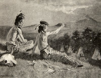 All the tribes beheld the signal, Saw the distant smoke ascending, from The Song of Hiawatha by Henry Wadsworth Longfellow Fine Art Print by Frederic Remington