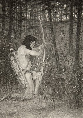 Then, upon one knee uprising, Hiawatha aimed an arrow, from The Song of Hiawatha by Henry Wadsworth Longfellow Fine Art Print by Frederic Remington